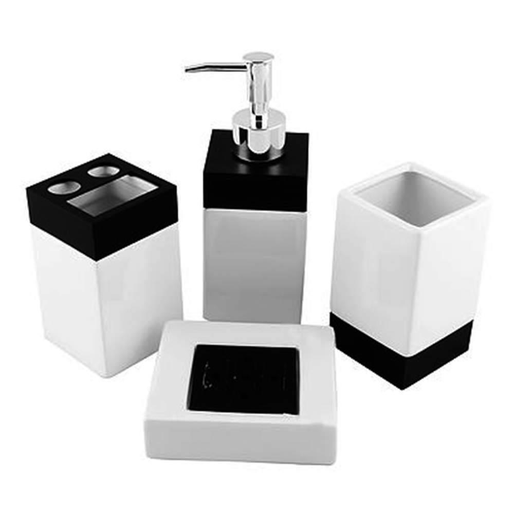 Kit Para Banheiro Black And White Em Porcelana 4 Peças Compre Acessórios Para Banheiro Carro De Mola