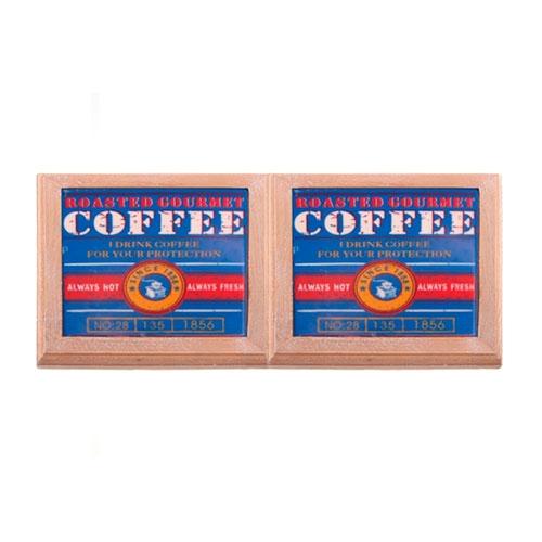Kit Descansos para Panelas Coffe Azul em Madeira - 20x2 cm