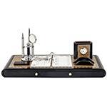 Kit Escritório em Laca Lupa/Relógio/Caneta c/ Gaveta Goldway - 50x20 cm