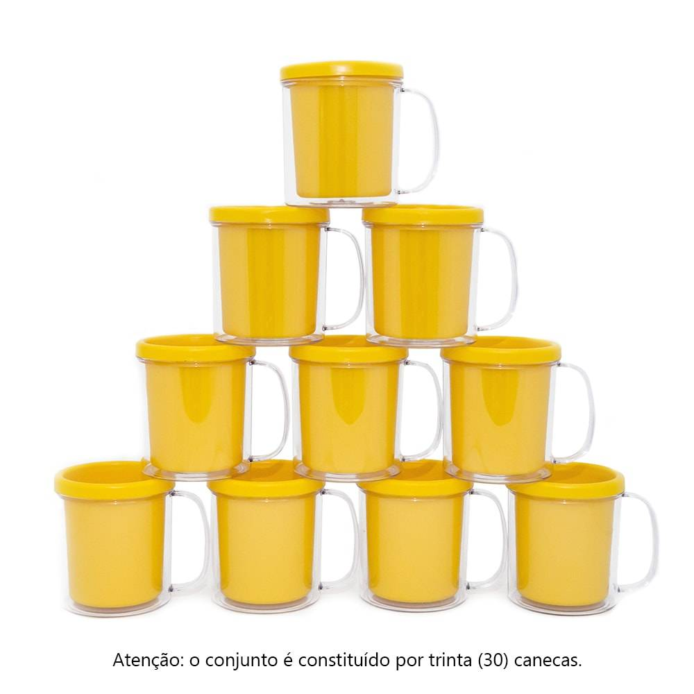 Kit Festa Infantil - Canecas Amarelas - 30 Peças - 10x9 cm