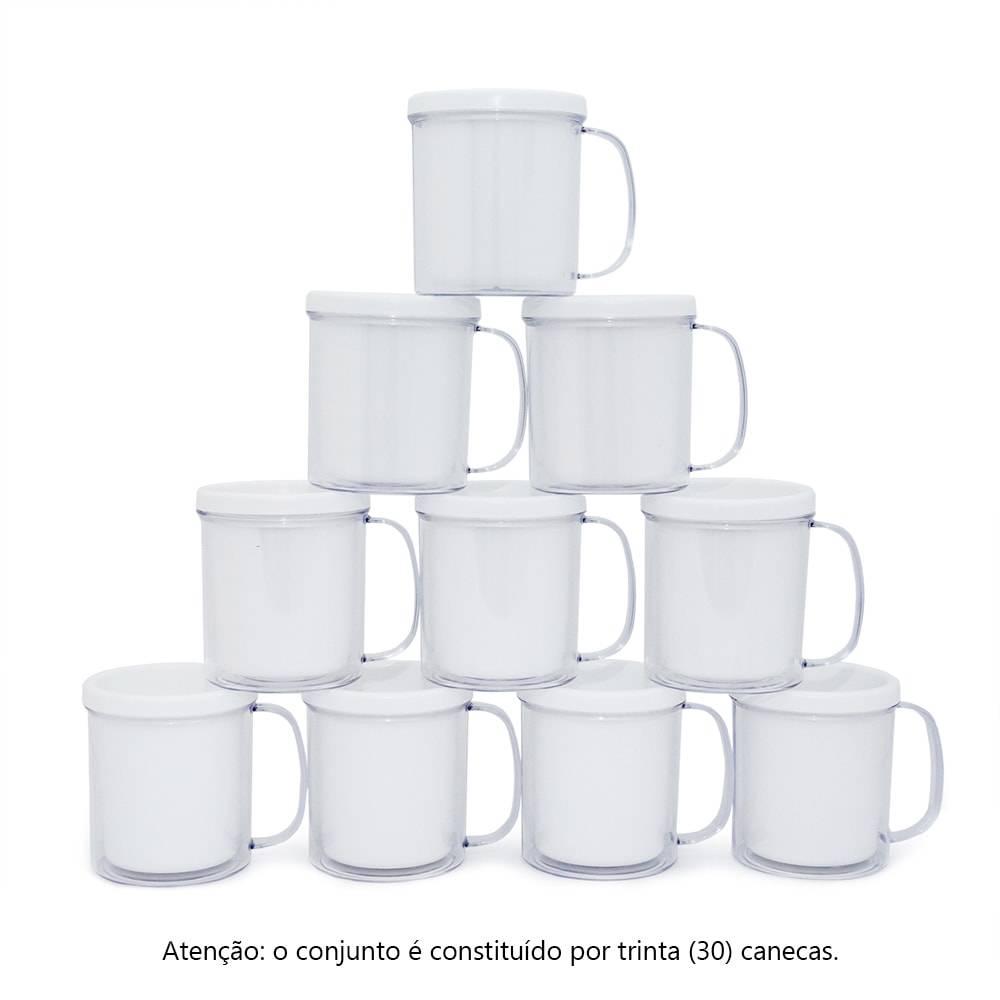 Kit Festa Infantil - Canecas Brancas - 30 Peças - 10x9 cm