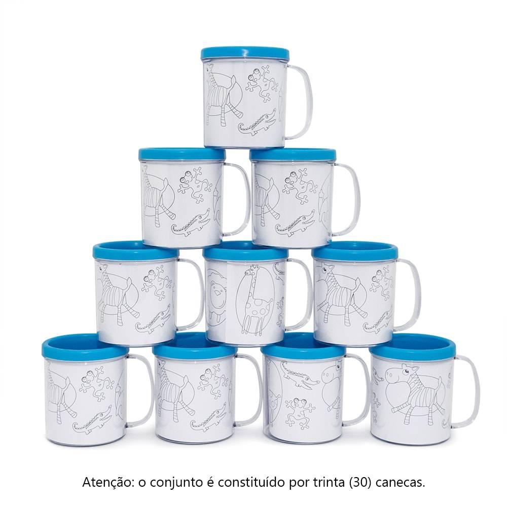 Kit Festa Infantil - Canecas Decore Azul - Estampa Animais - 30 Peças - 10x9 cm