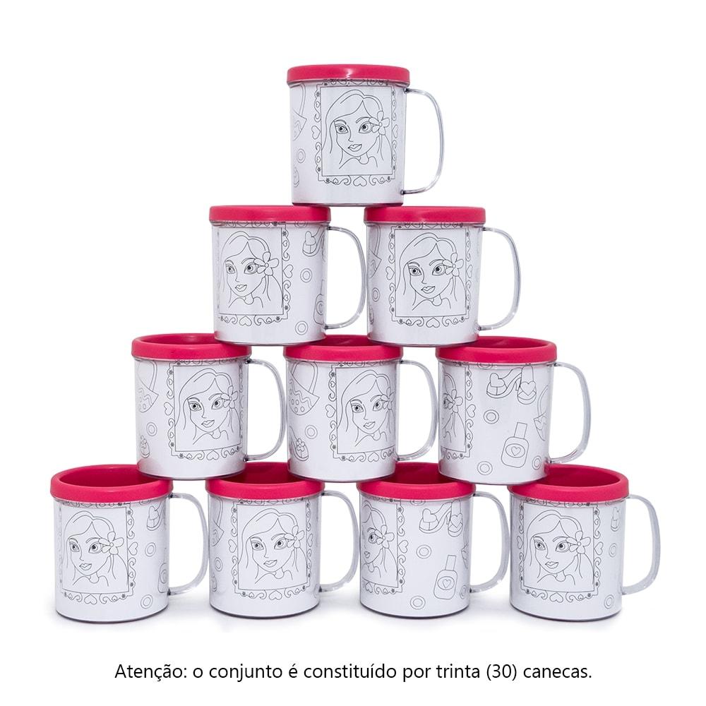 Kit Festa Infantil - Canecas Decore Rosa - Estampa Princesas - 30 Peças - 10x9 cm