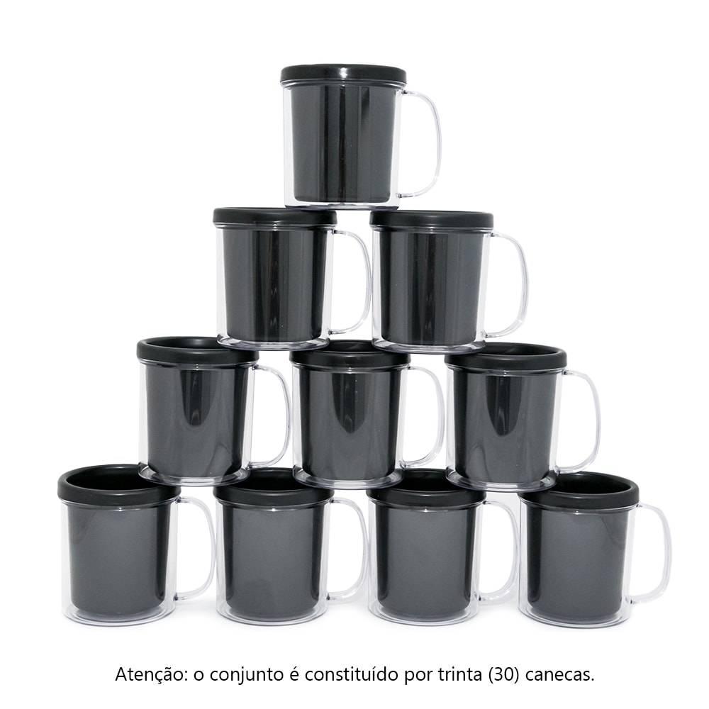 Kit Festa Infantil - Canecas Pretas - 30 Peças - 10x9 cm