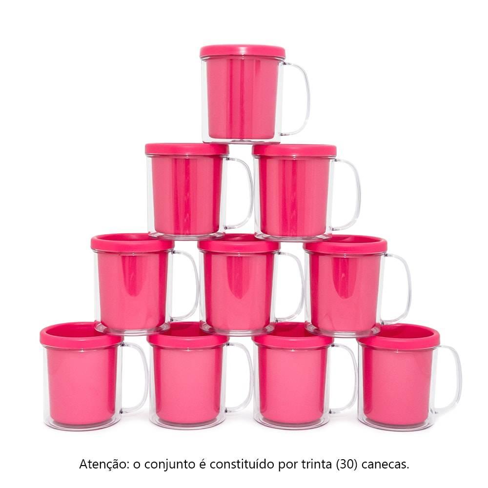 Kit Festa Infantil - Canecas Rosas - 30 Peças - 10x9 cm