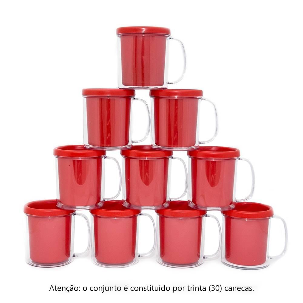 Kit Festa Infantil - Canecas Vermelhas - 30 Peças - 10x9 cm