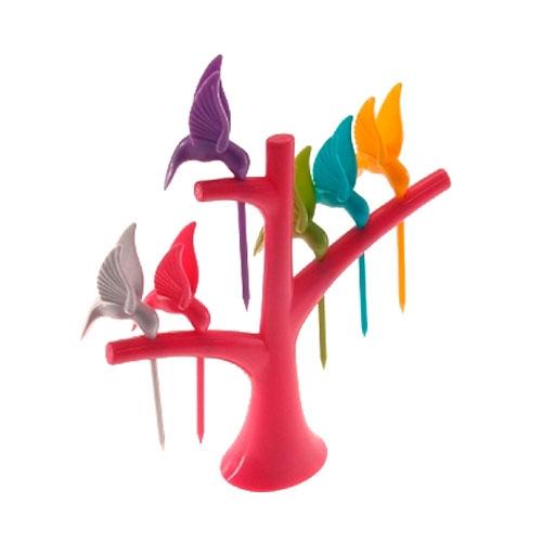 Kit para Petiscos Pássaros com Base Rosa - 16x14 cm