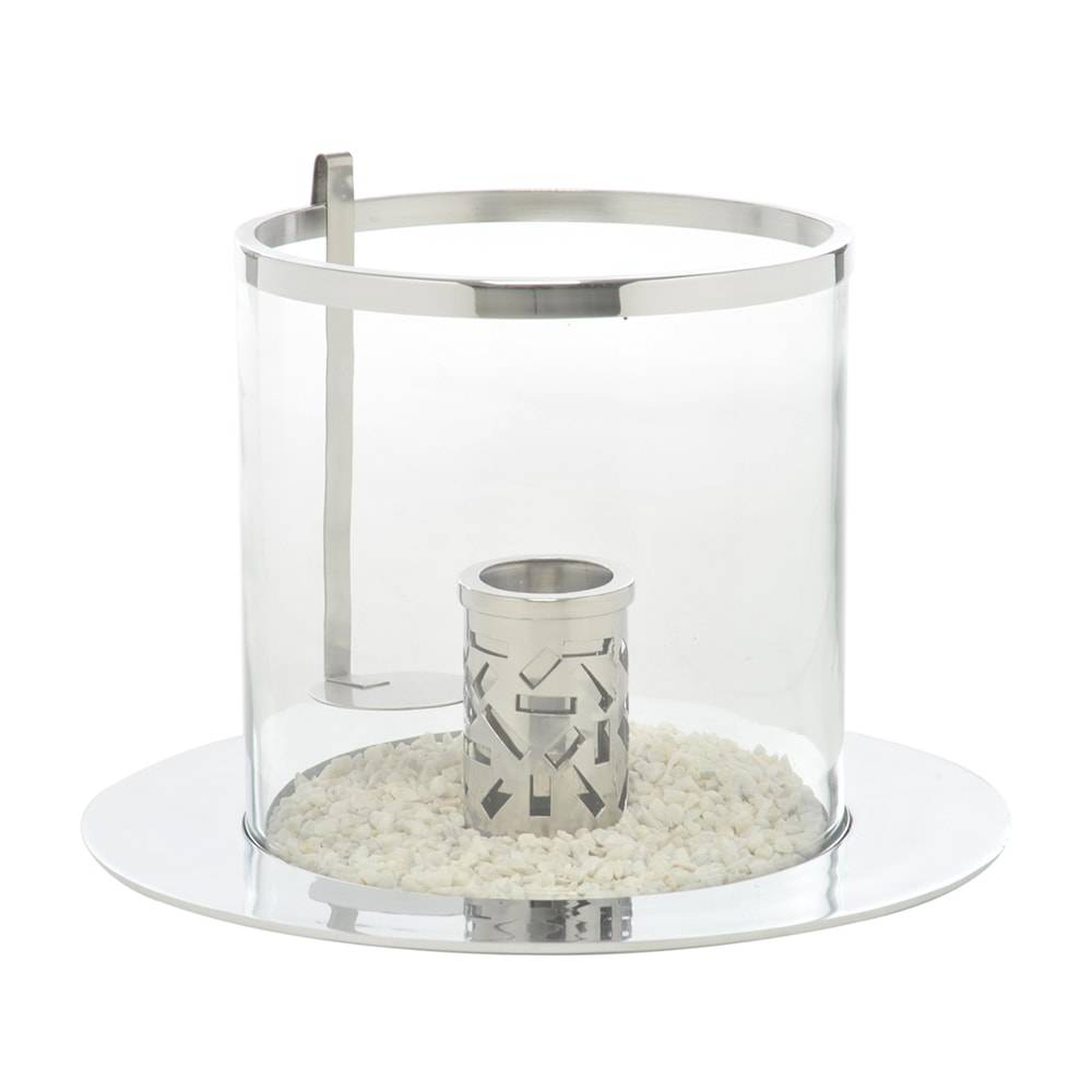 Lamparina Plate Transparente e Prata em Metal - 46x32 cm