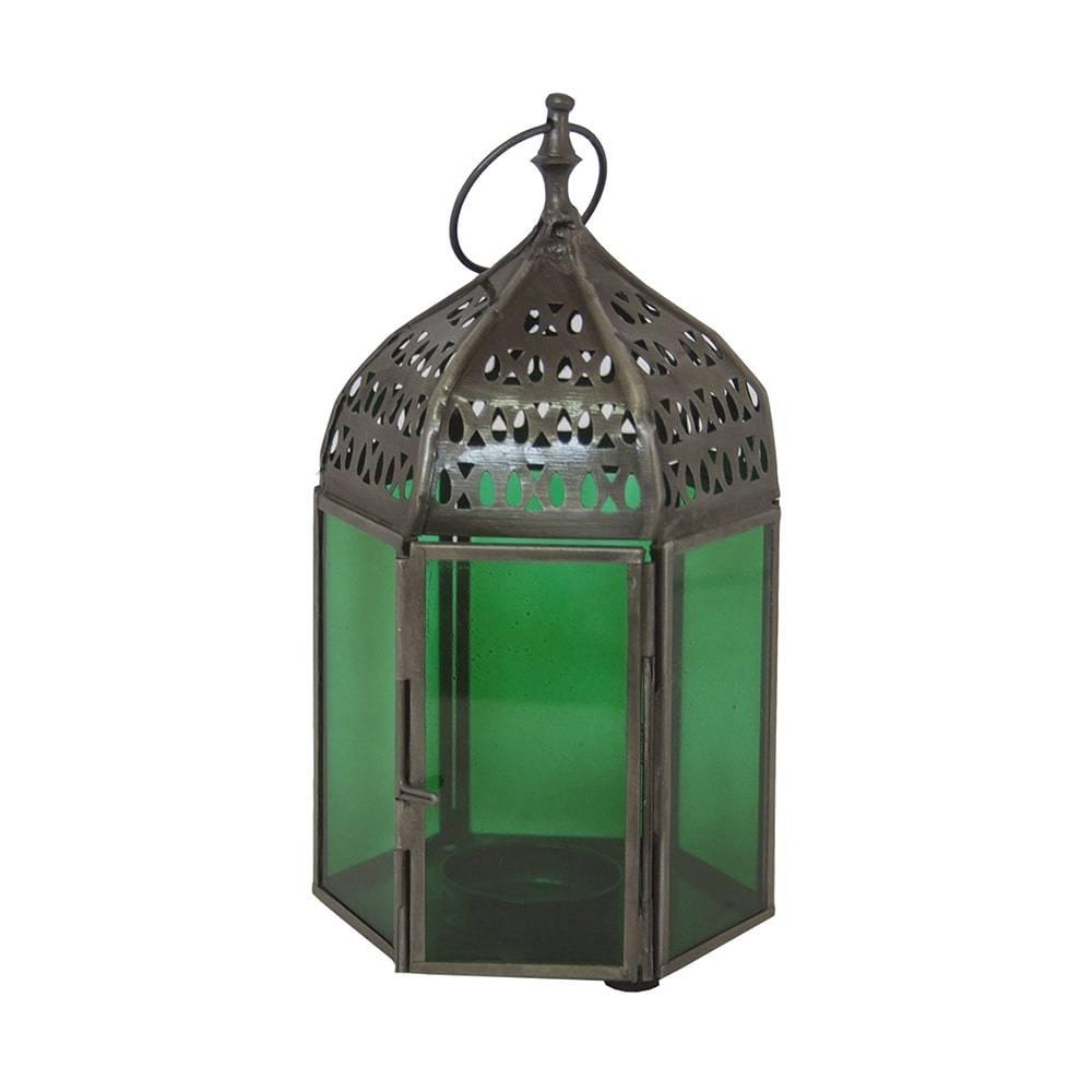 Lantena Oriental Hexagonal Verde em Ferro/Vidro - 18x10 cm