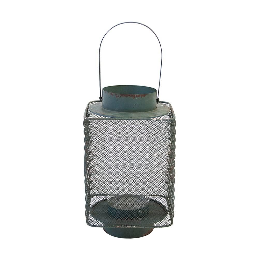 Lanterna Alford Azul em Ferro e Vidro - 39x16 cm