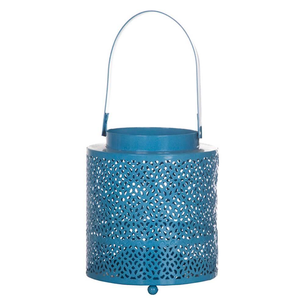 Lanterna Arabesque Azul em Metal - Urban - 15x12,5 cm