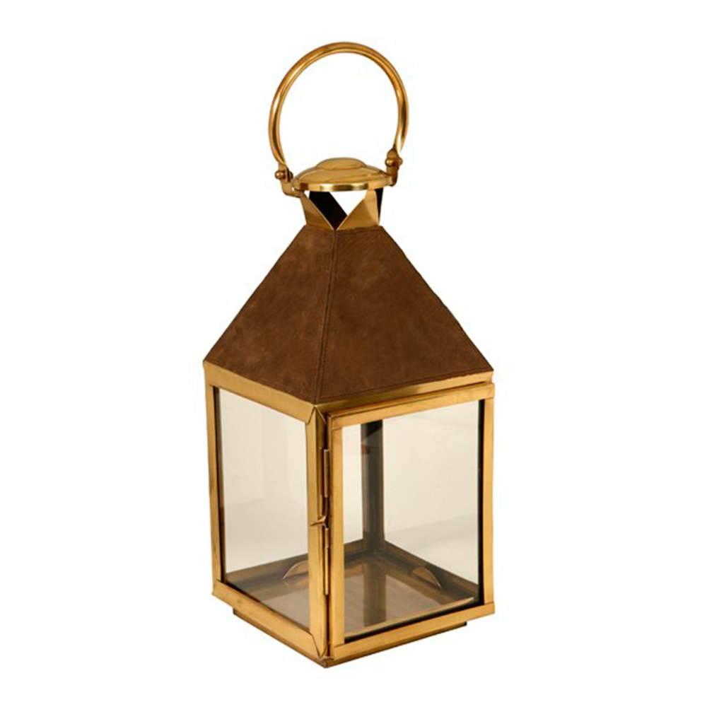 Lanterna Áustria Dourado em Metal Banhado a Ouro - 55x25 cm