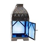 Lanterna Azul Klein em Metal e Vidro - 24x12 cm