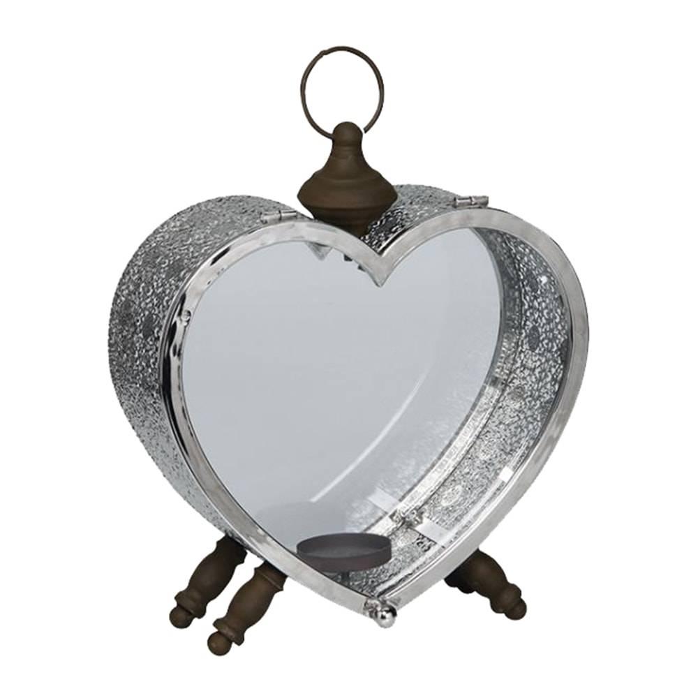 Lanterna Bali Coração Prateada em Metal - 33x28 cm