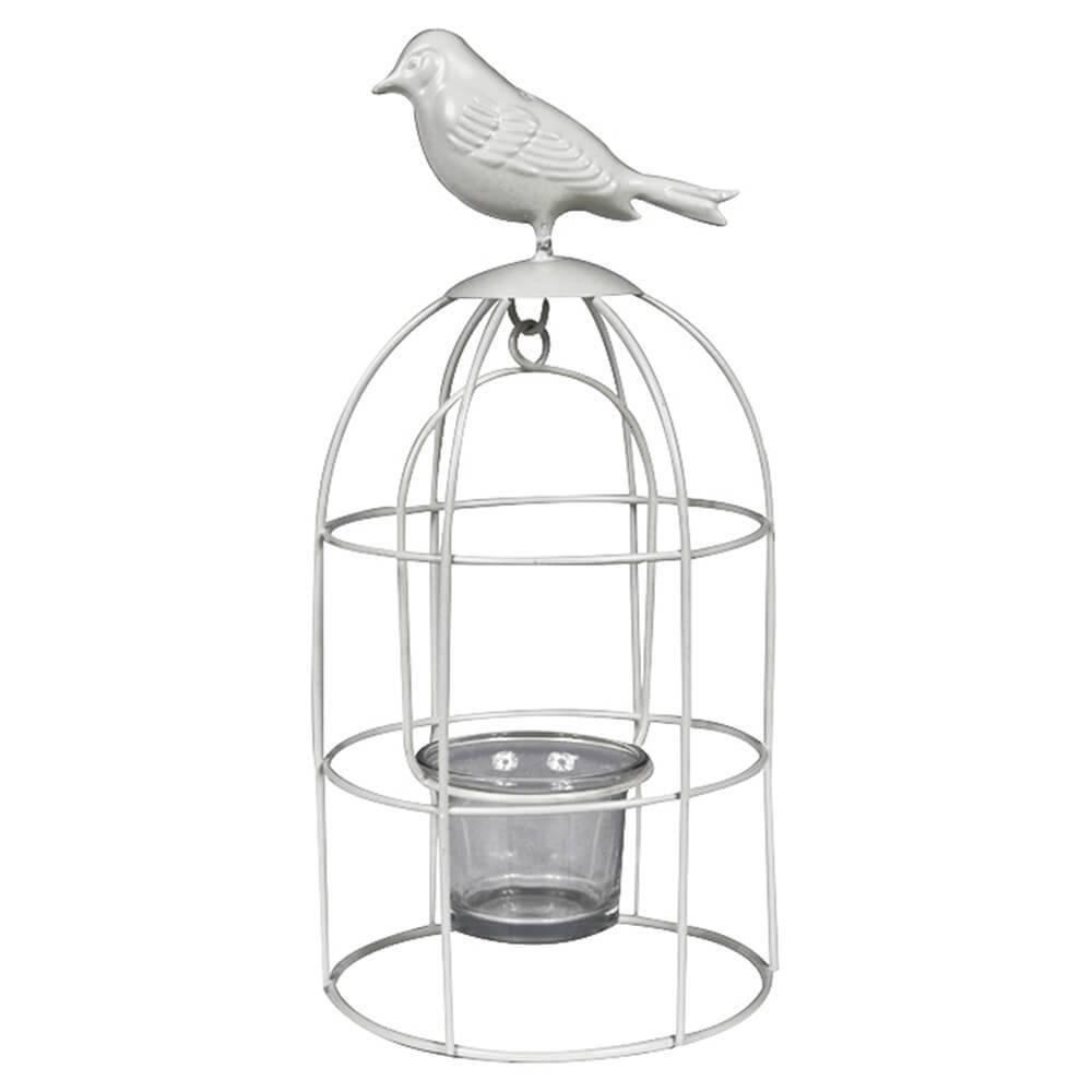 Lanterna Bird Cage Branco em Metal - Urban - 25x12 cm