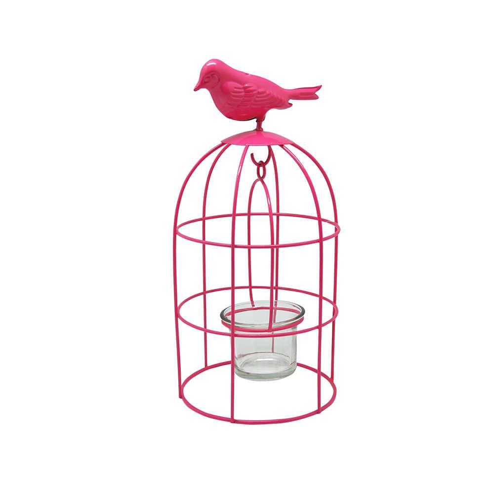 Lanterna Bird Pink em Metal - Urban - 25x12 cm
