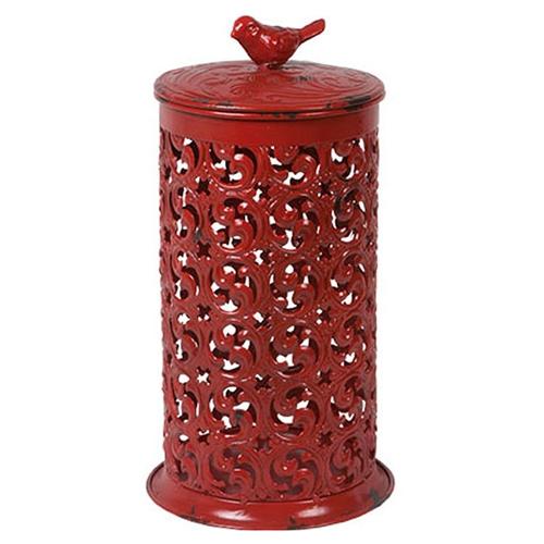 Lanterna Bird Vermelho Pátina em Metal - 30x16 cm