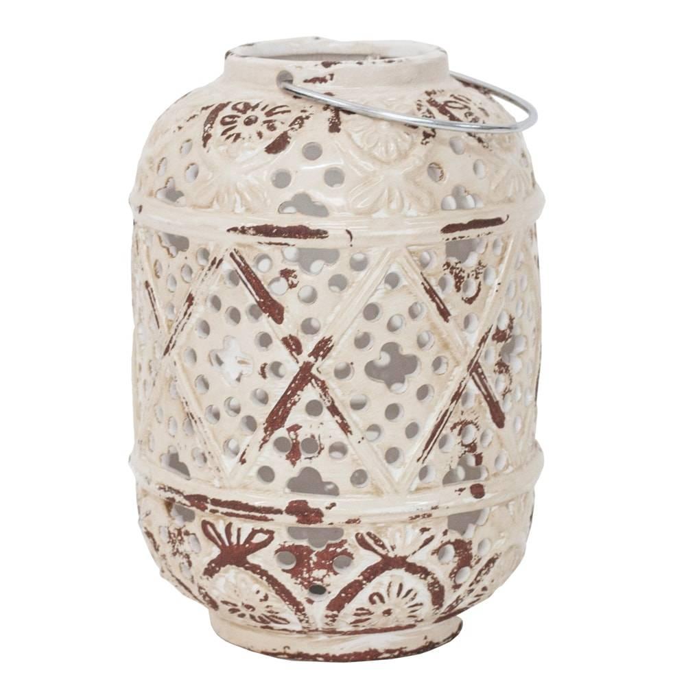 Lanterna Bizly Branco em Cerâmica - 23x17 cm