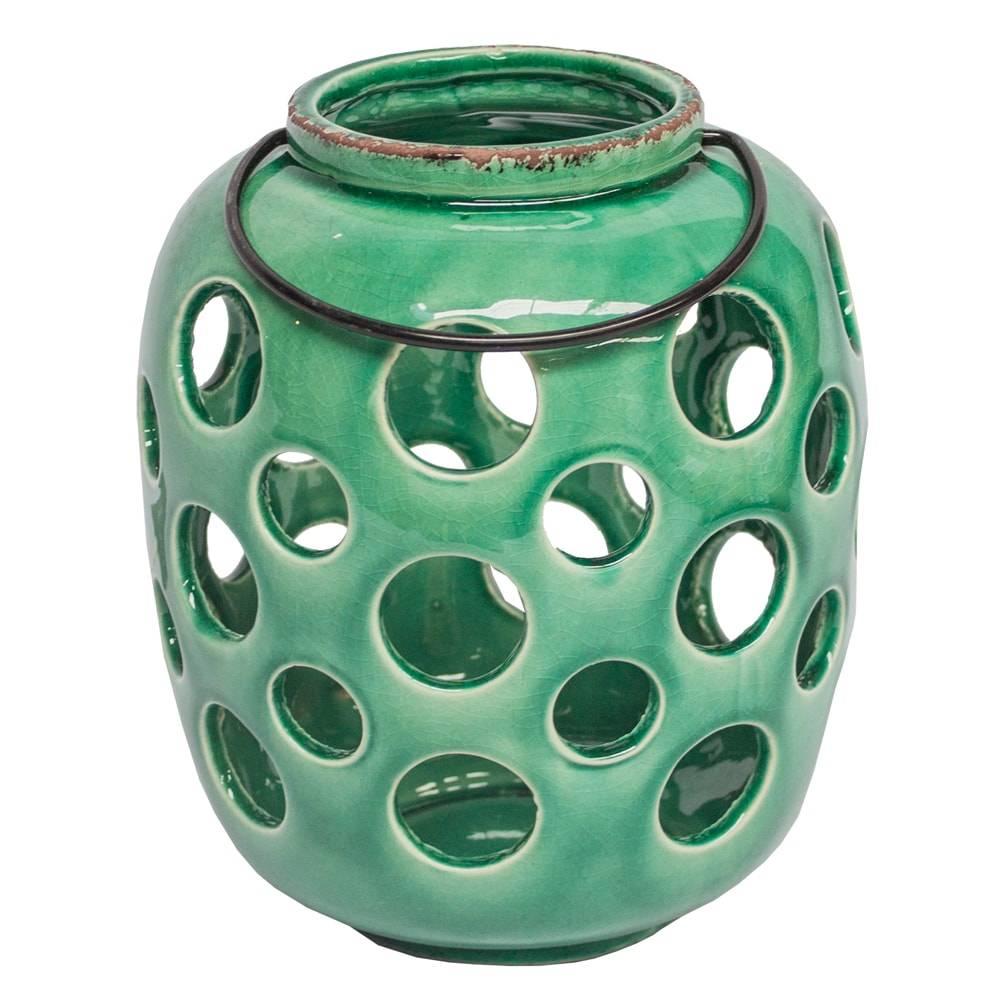 Lanterna Bolhas Vazadas Verde Pátina em Cerâmica - 21x18 cm