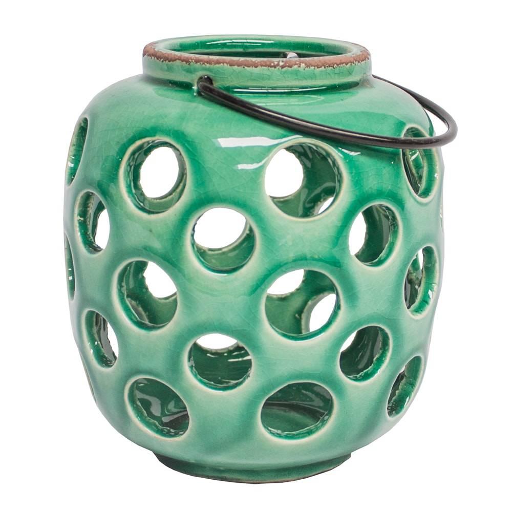 Lanterna Bolhas Vazadas Verde Pátina Pequena em Cerâmica - 16x14 cm