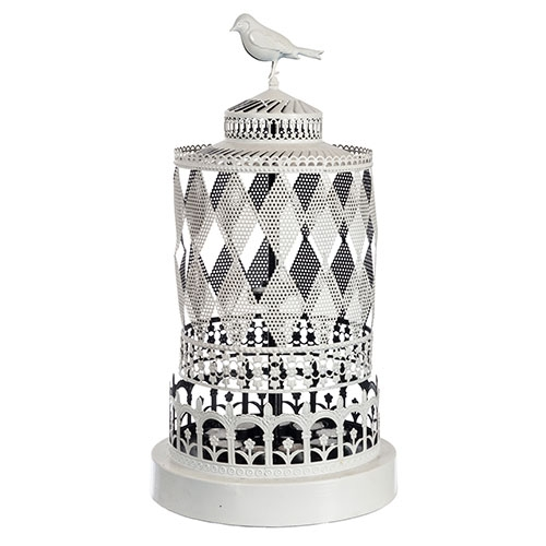 Lanterna Branca Carrossel Metálica - 53x26 cm