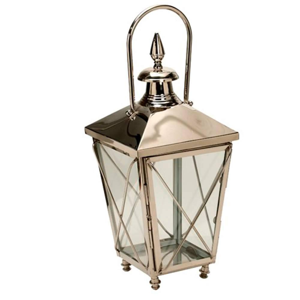 Lanterna Cadenzze Média Prata em Aço Inox - 70x30 cm