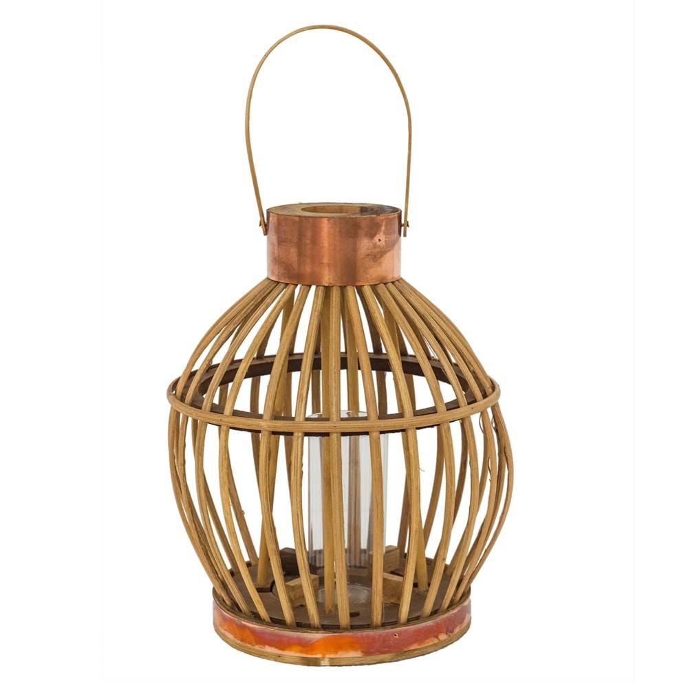 Lanterna Cage Bege Pequeno em Ferro e Rattan Natural - 28x23 cm