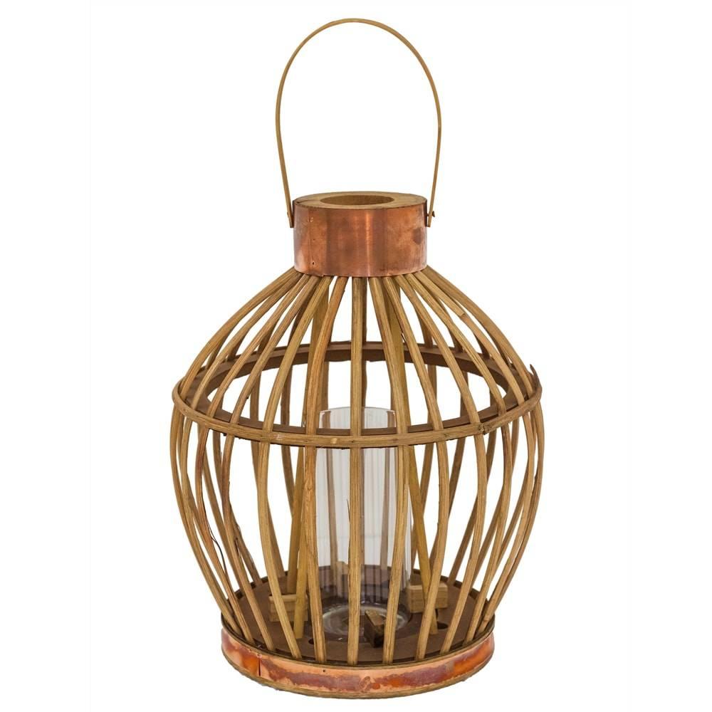 Lanterna Cage Grande Bege em Ferro e Rattan Natural - 33x26 cm