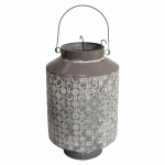 Lanterna Cinza Metalic em Metal - 33x21 cm
