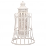 Lanterna Coni Slat Branco em Metal - 62x36 cm
