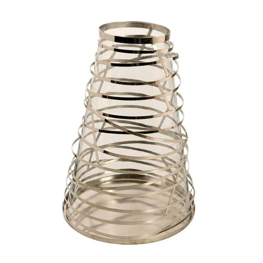 Lanterna Conical Grande Prata em Aço Inox e Vidro - 41x29 cm
