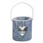 Lanterna Coração Vazado Azul Pequeno em Madeira - 8x8 cm