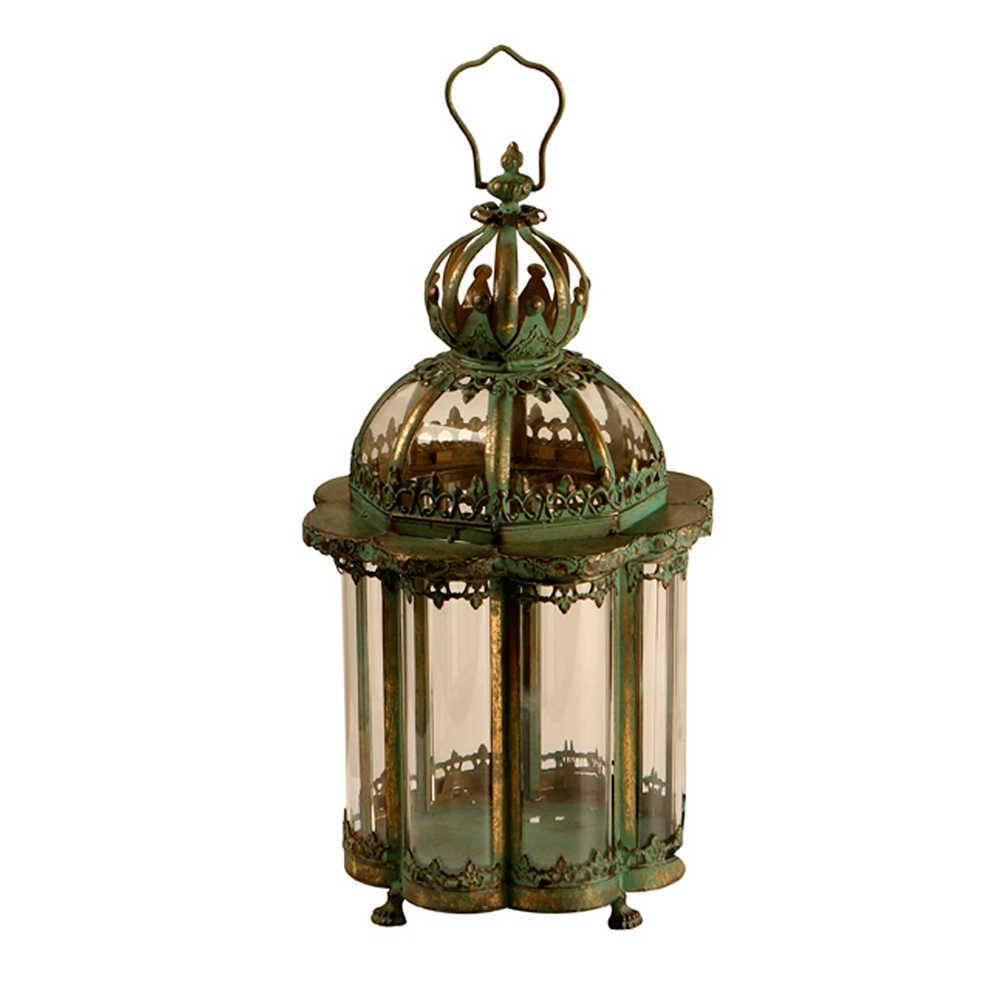 Lanterna Coroa Verde Envelhecida em Metal e Vidro - 50x21 cm