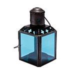 Lanterna Cube Azul em Metal e Vidro - 11x6 cm