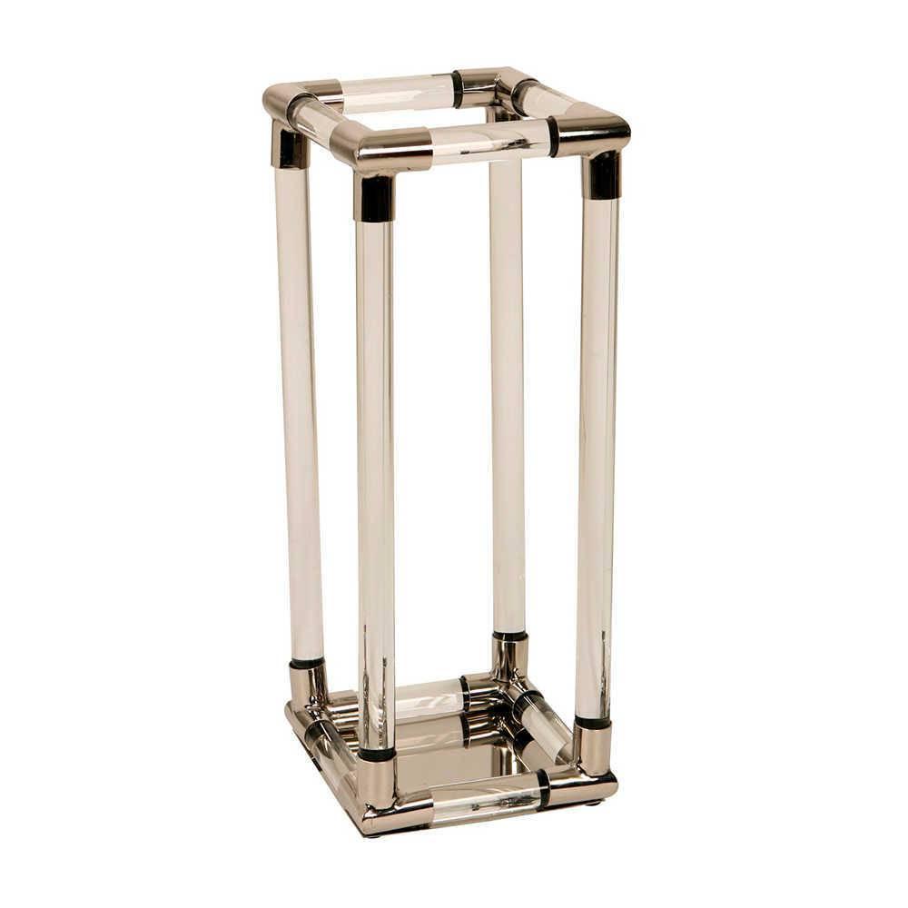 Lanterna Decorativa Claire Prata Grande em Aço Inox e Acrílico - 60x23 cm