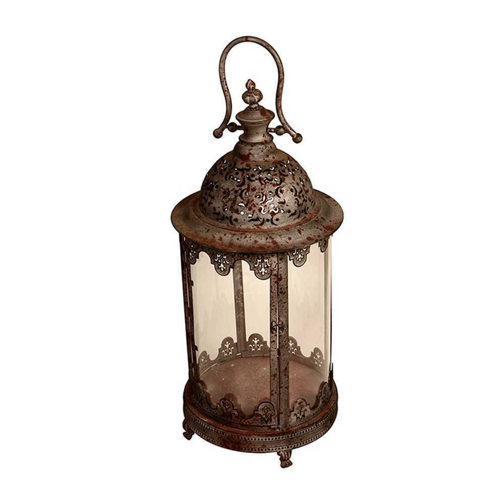 Lanterna Decorativa Cristian Cinza Grande em Metal e Vidro - 62x29 cm