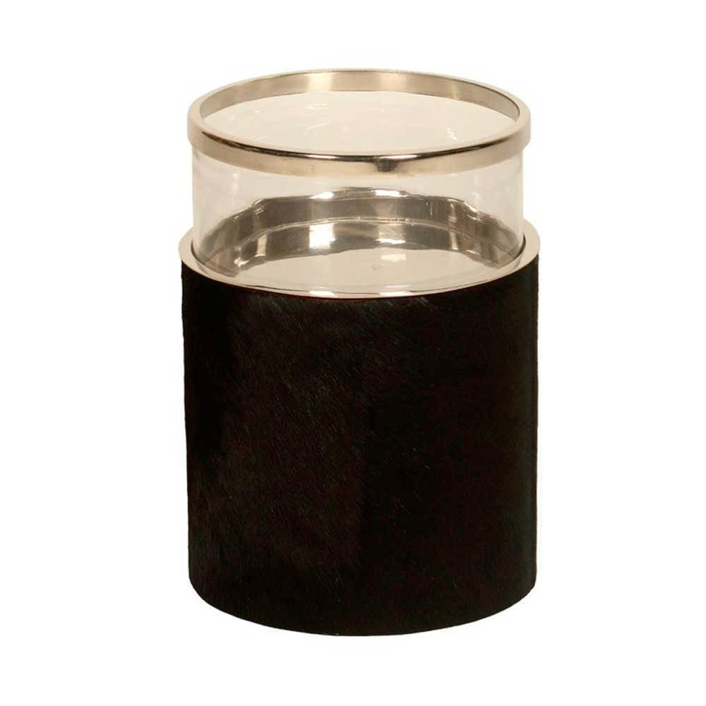 Lanterna Decorativa Hairon Pequena em Aço Inox e Vidro - 27x19 cm