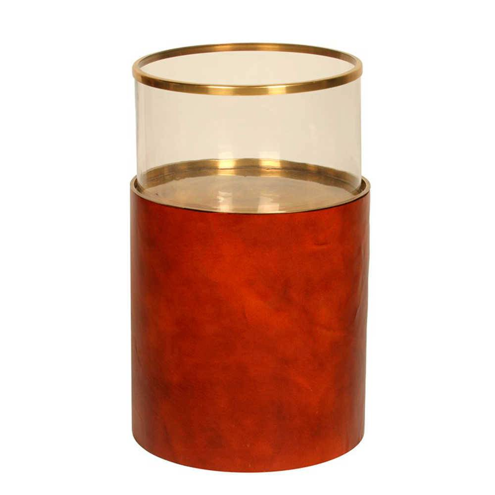Lanterna Decorativa Hairon Vermelha Grande em Bronze - 53x31 cm