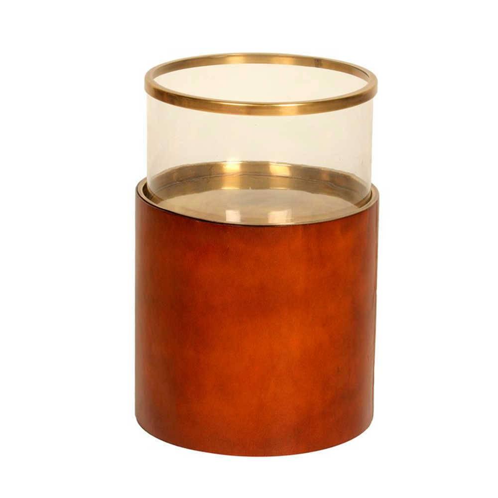 Lanterna Decorativa Hairon Vermelha Média em Bronze - 53x31 cm