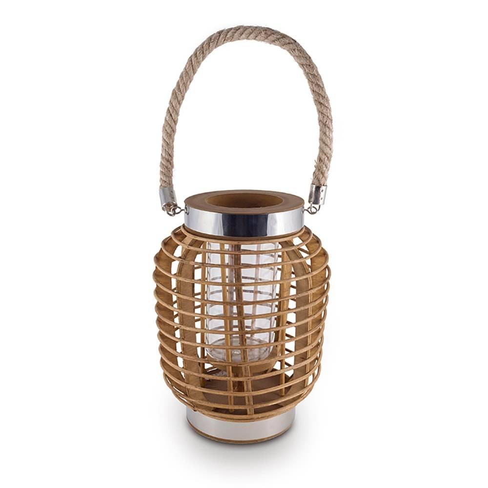Lanterna Decorativa Harrow Cilíndrica Marrom em Metal e Bambu - 29x18 cm