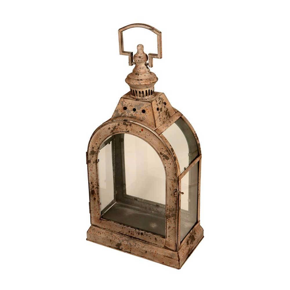 Lanterna Decorativa Judith Grande Cinza Envelhecido em Metal e Vidro - 69x36 cm