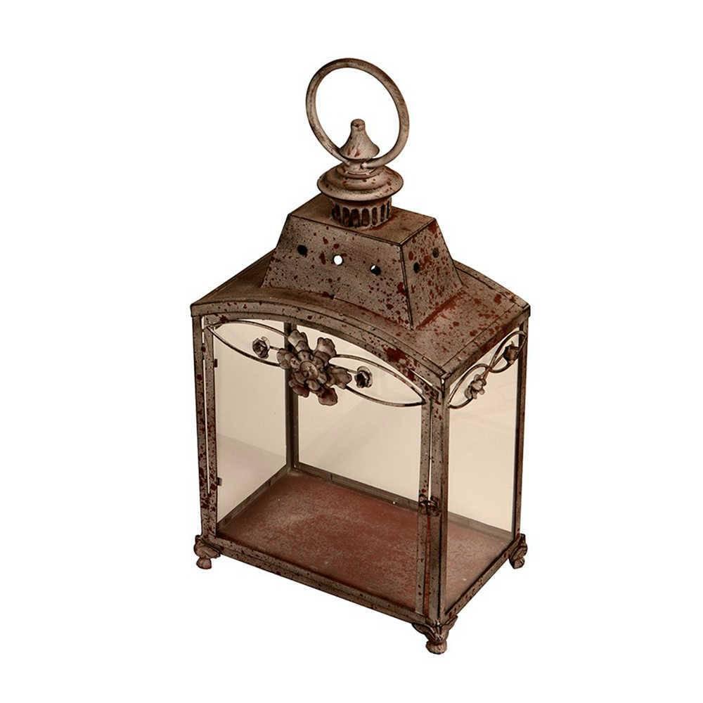Lanterna Decorativa Jym Envelhecida em Metal - 57x32 cm