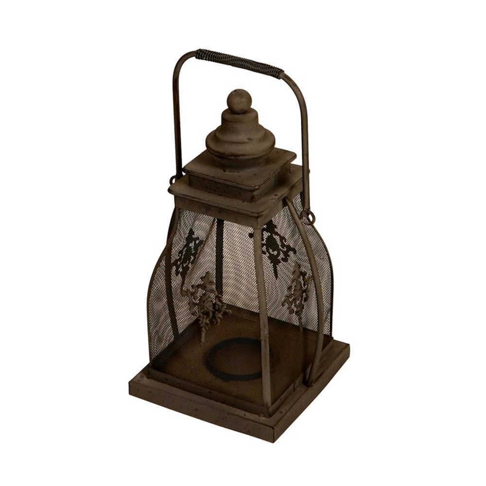 Lanterna Decorativa Lily Preta Grande em Metal - 42x22 cm