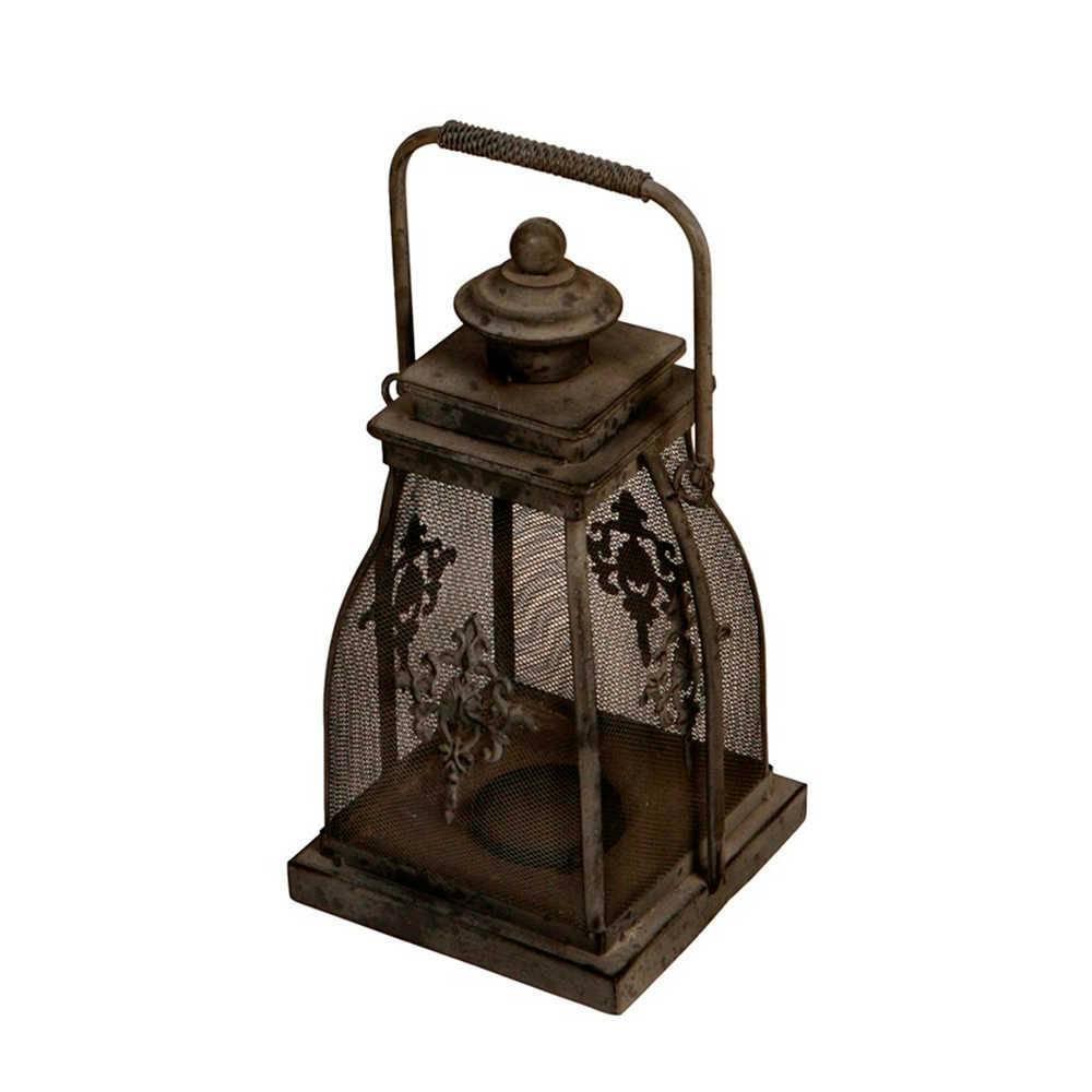 Lanterna Decorativa Lily Preta Média em Metal - 34x18 cm