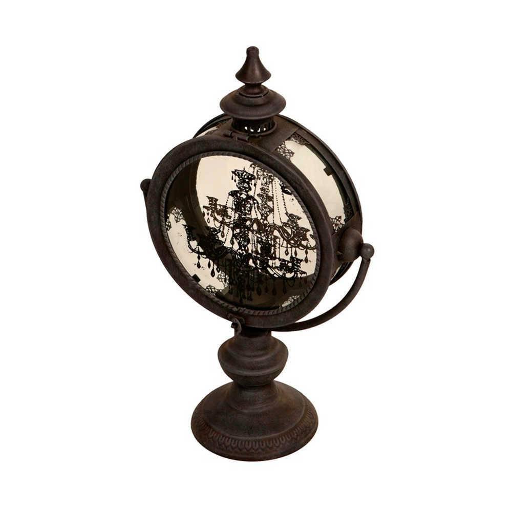 Lanterna Decorativa Lustre - com Estampa em Vidro - Preto em Metal - 49x31 cm