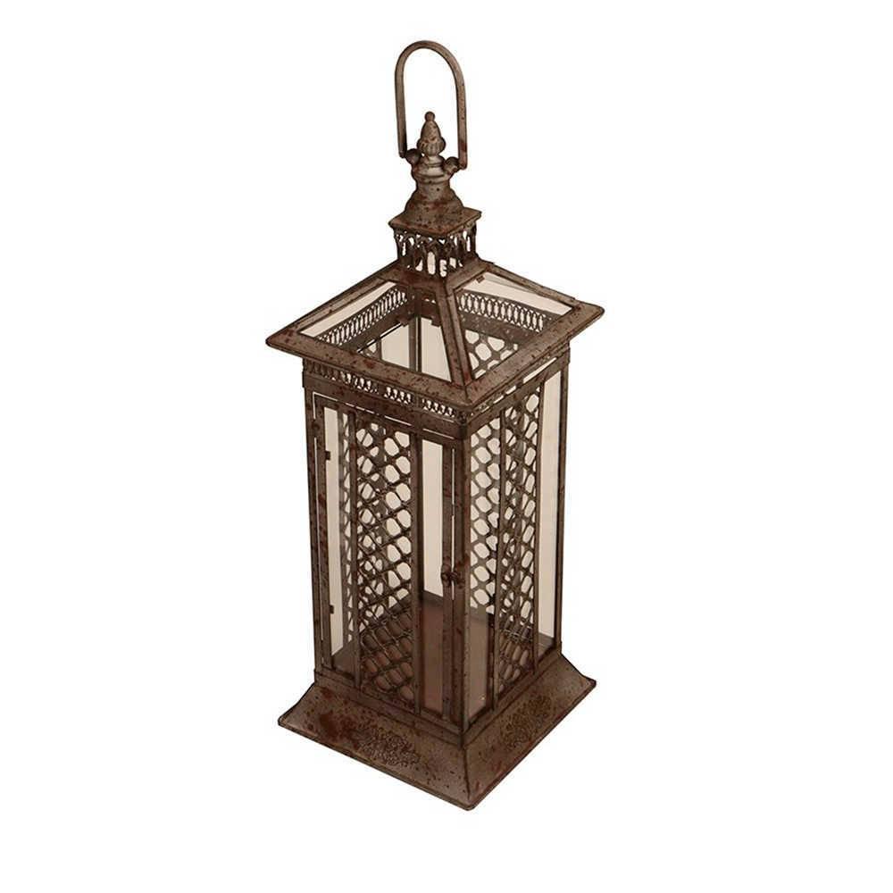 Lanterna Decorativa Pillar Grande em Metal com Efeito Envelhecido - 59x24 cm
