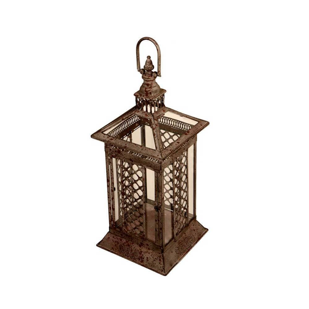 Lanterna Decorativa Pillar Média em Metal com Efeito Envelhecido - 54x23 cm