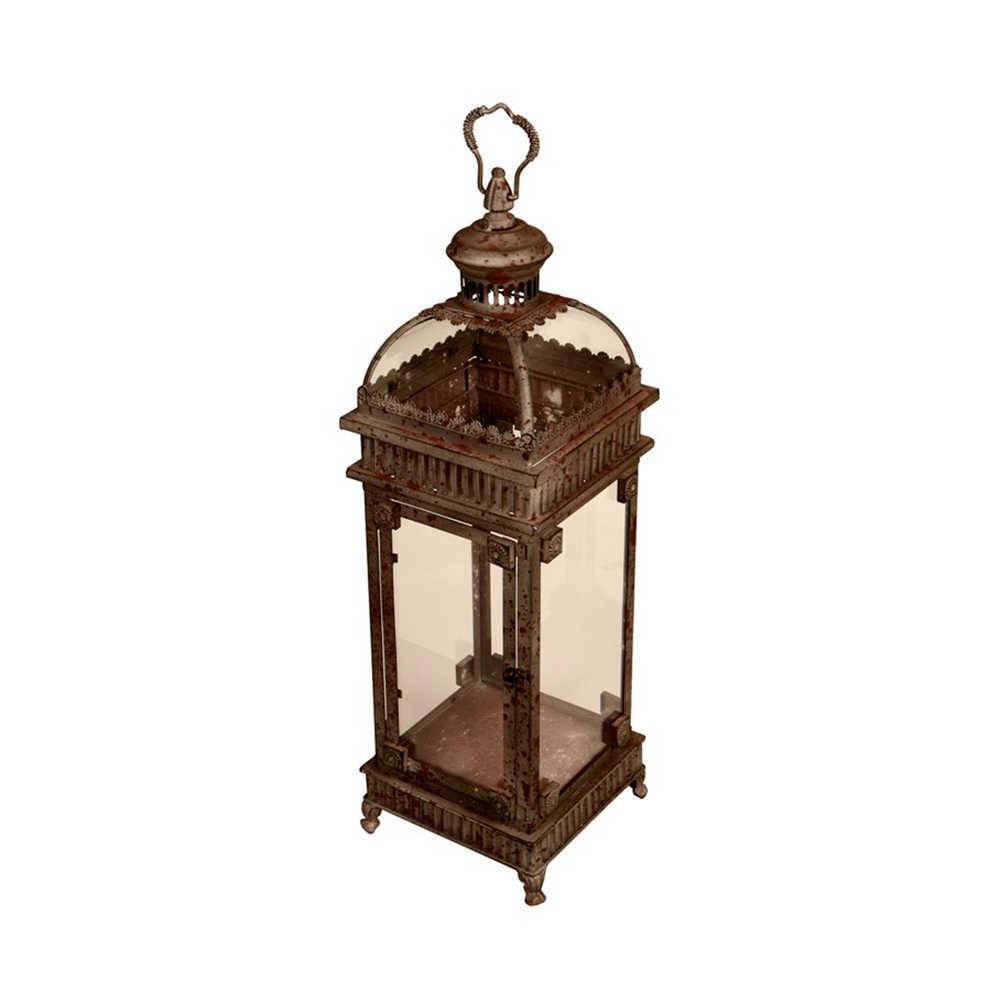 Lanterna Decorativa Presly Cinza em Metal e Vidro - 72x24 cm