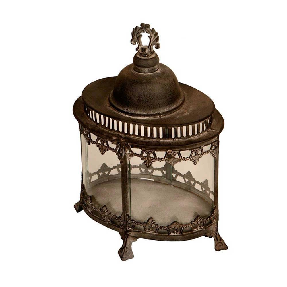 Lanterna Decorativa Prisma Preto Envelhecido em Metal - 42x29 cm