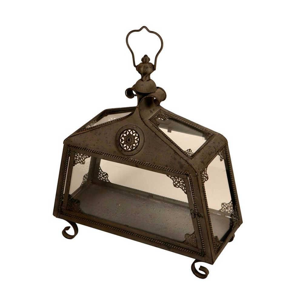 Lanterna Decorativa Roma Preto Envelhecido em Metal - 45x44 cm